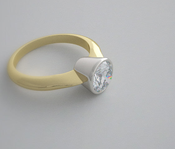 SOLITAIRE BEZEL RING SETTING TWO TONE GOLD OR PLATINUM
