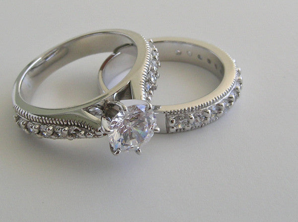 ELEGANT ENGAGEMENT RING SETTING WEDDING RING SETTING SET