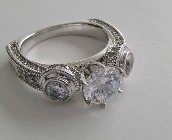 UNIQUE THREE STONE DIAMOND BEZEL AND PRONG SET RING SETTING