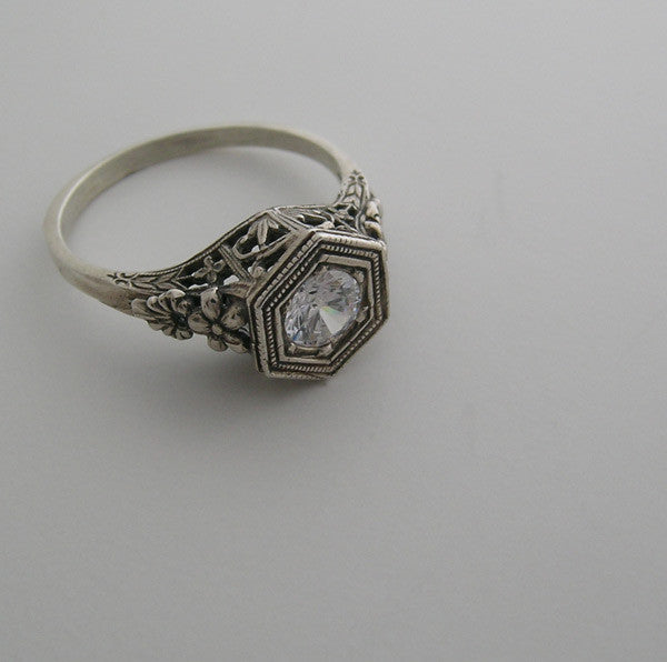VINTAGE ART DECO ANTIQUE STYLE  FILIGREE RING SETTING OLD WORLD DESIGN