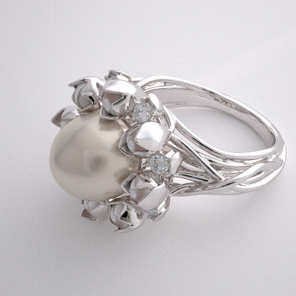 EXOTIC RING SETTING UNIQUE FLORAL DESIGN CULTURED PEARL AND DIAMOND FLOWER MOTIF
