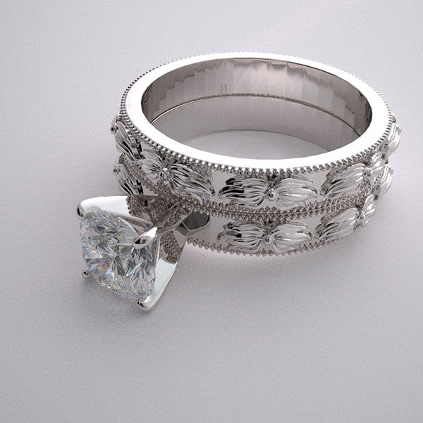 Platinum Bridal Ring Setting Set