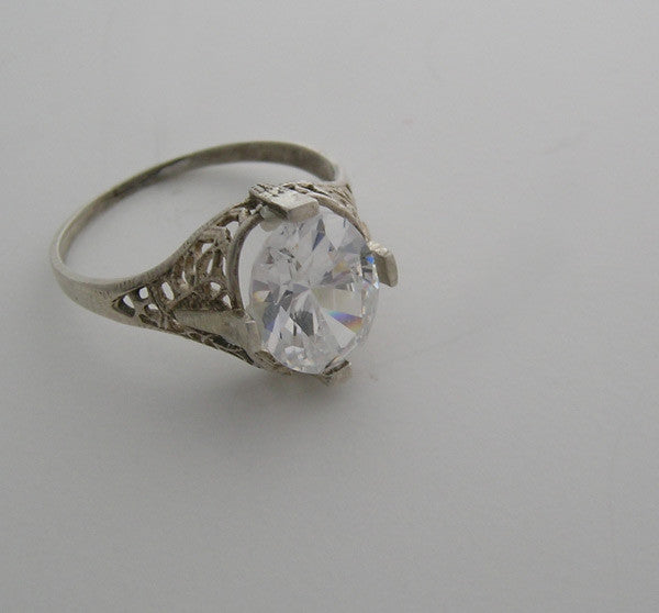 14K Pink Gold Art Deco Style Engagement Ring for an Oval Shape 11.00 x 9.00 mm