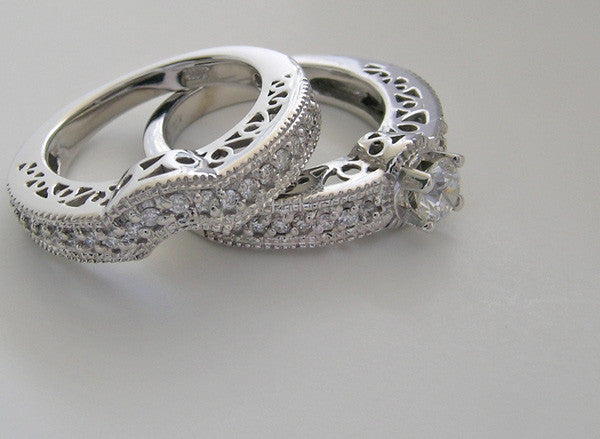 UNIQUE IMPORTANT DIAMOND RING WEDDING SET