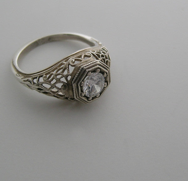 14K GOLD ANTIQUE STYLE FILIGREE RING SETTING
