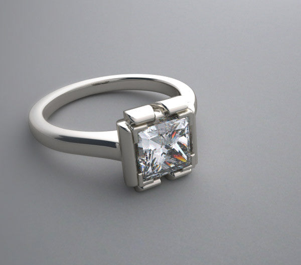 MODERN ARCHITRCTURAL RING SETTING SQUARE PRINCESS SHAPE DESIGN