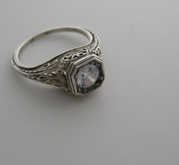 ENGAGEMENT RING SETTING ART DECO ANTIQUE STYLE WITH FEMININE FILIGREE DESIGN