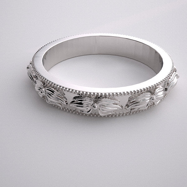 FLOWING FLOWER DESIGNED WEDDING BAND RING