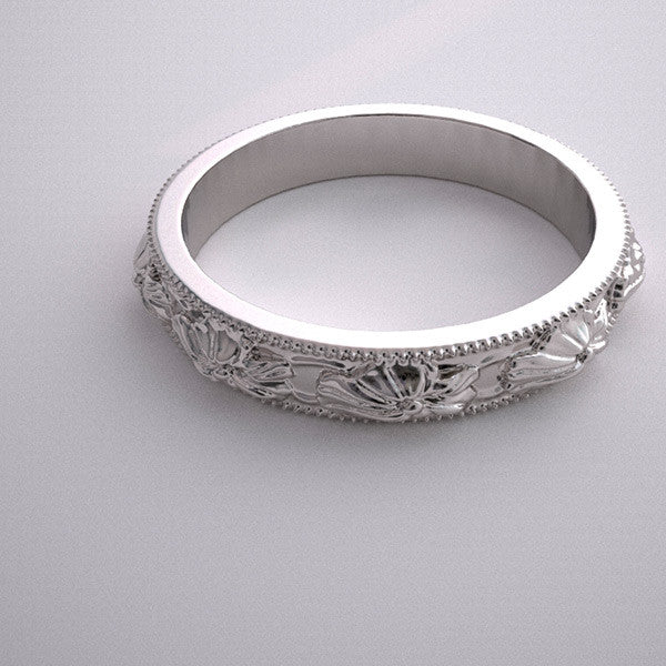 FLOWER BLOSSOM ROMANTIC WEDDING BAND RING