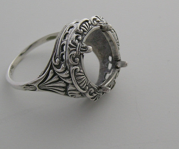 14K RING SETTING FEMININE FILIGREE OLD WORLD STYLE 11.00 MM