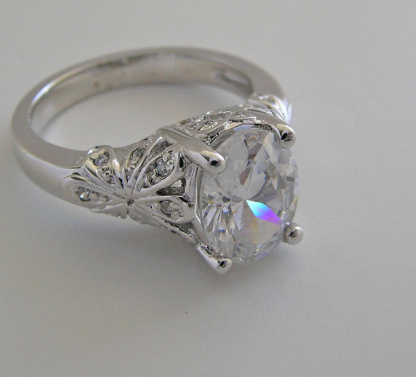 UNIQUE LARGE OVAL SHAPE DIAMOND ENGAGEMENT RING SETTING
