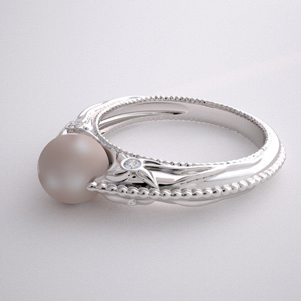 Gold Cultured Pearl Floral Ring