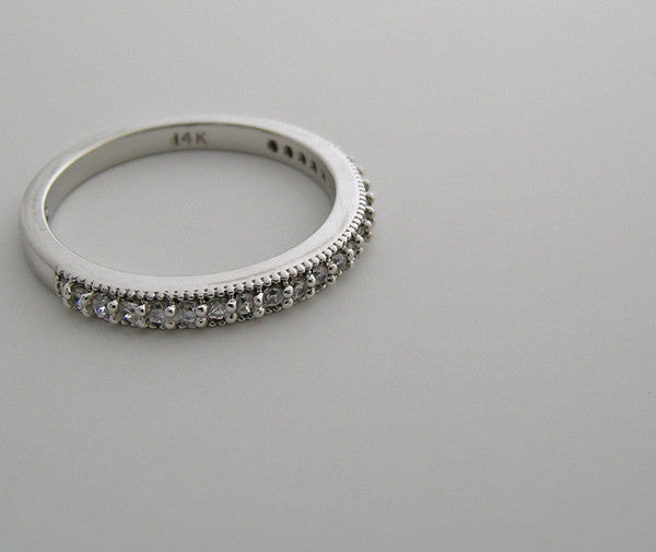 FEMININE DIAMOND HALF ETERNITY WEDDING BAND RING
