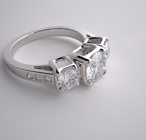 THREE STONE ENGAGEMENT RING SETTING CUSTOM MADE TO FIT YOUR REQUIREMENTS