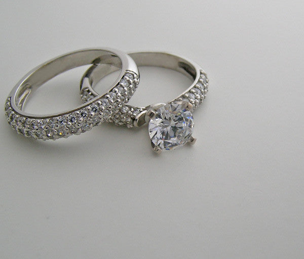 WHITE GOLD CLASSICAL PAVE DIAMOND ENGAGEMENT RING SETTING SET