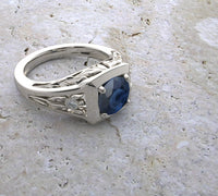 14K WHITE GOLD NATURAL BLUE SAPPHIRE RING LOTUS DESIGN and Video