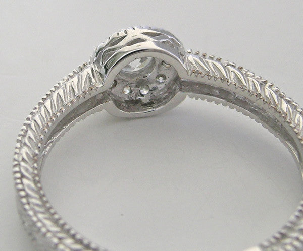 PETITE HALO DESIGN ANTIQUE STYLE  DIAMOND RING SETTING