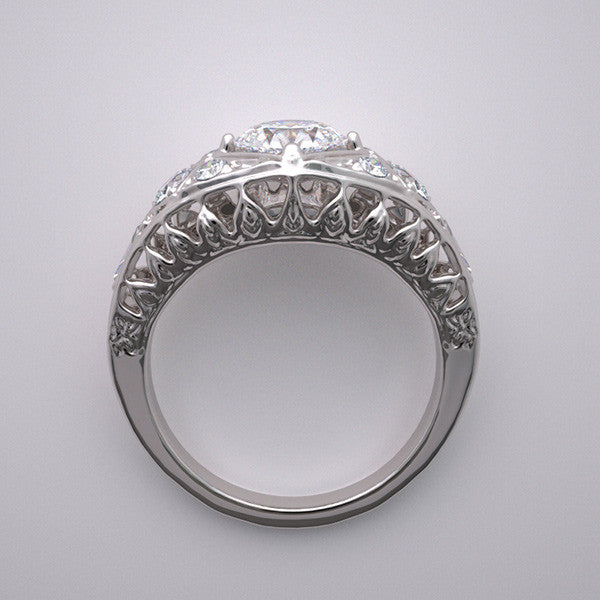 ENGAGEMENT RING SETTING ART DECO STYLING WITH  DIAMOND ACCENTS
