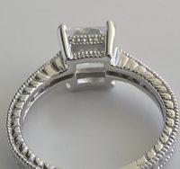GOLD RING SETTING FOR PRINCESS CUT DIAMOND  VINTAGE DETAILS