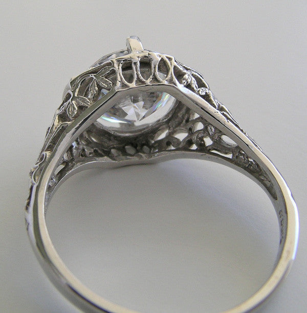 White gold Filigree Ring Setting 9.5 MM Round Gemstone Center