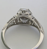 ANTIQUE ART DECO STYLE FILIGREE ENGAGEMENT RING SETTING 4.2 MM GEMSTONE