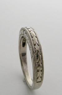 WEDDING BAND RING 14K GOLD ART DECO ANTIQUE VINTAGE STYLE ENGRAVED