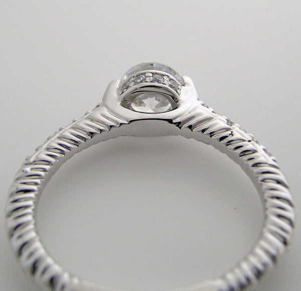 Platinum Unique Bezel and Prong Ring Setting