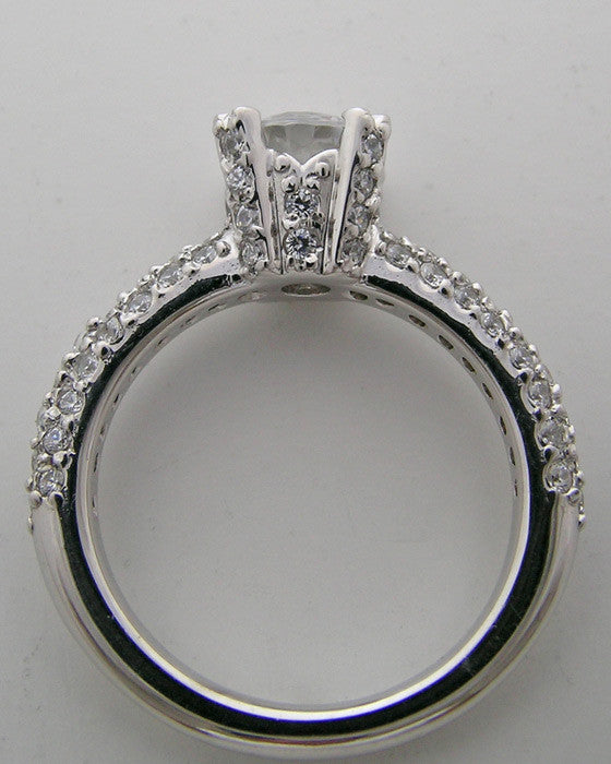 TRENDY FEMININE PAVE DIAMOND ENGAGEMENT RING SETTING