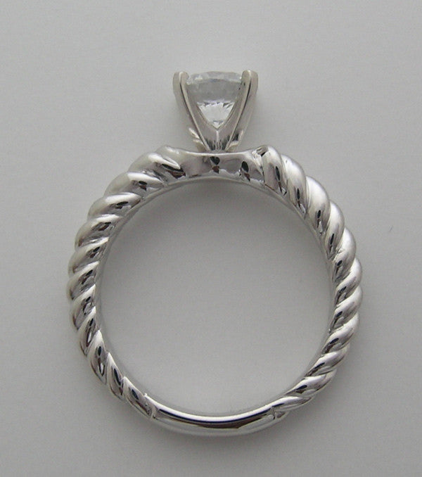 SIMPLE SOLITAIRE TWISTED TEXTURED RING SETTING FOR ALL SHAPE CENTERS WITHOUT CENTER STONE