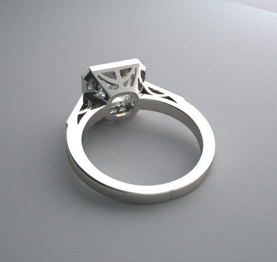 14K Vintage Style Ring Setting for a 6.00 x 6.00 mm Princess Cut Diamond