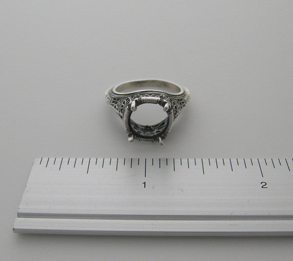 Antique Ring Setting White Gold 10.00 MM