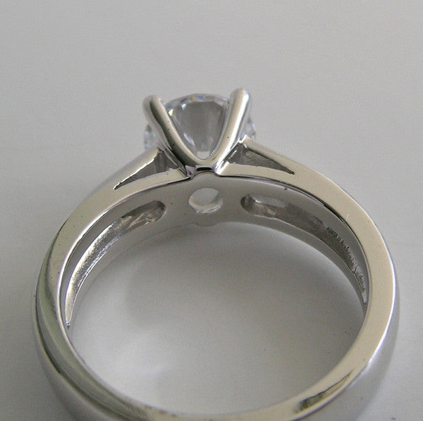 CONTEMPORARY ENGAGEMENT RING SETTING WIDE BAND FOUR PRONG