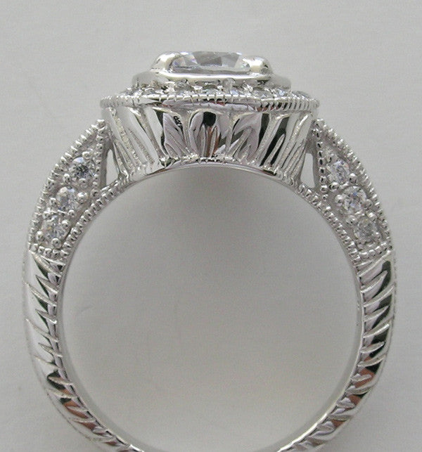 HALO ENGAGEMENT RING SETTING WITH ART DECO STYLE MIL GRAINING AND DIAMOND ACCENTS