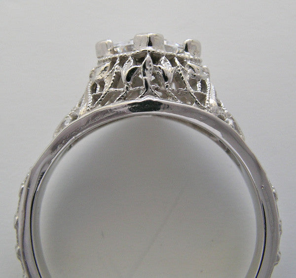 White Gold Ring Setting With Filigree Design