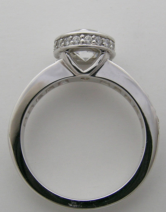 Gold Bezel Right Hand Ring Setting With Diamond Halo