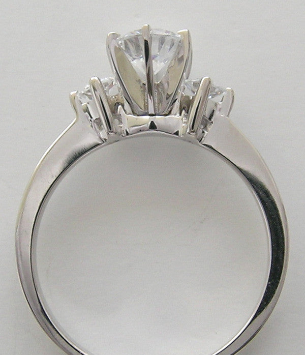 THREE STONE PRINCESS CUT DIAMOND RING SETTING