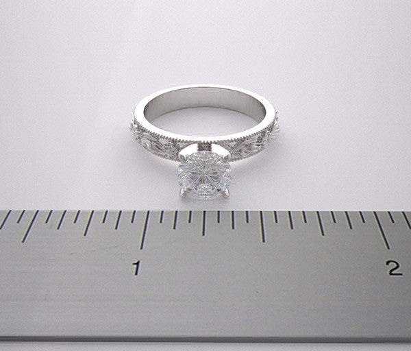 Floral Design ring setting for a 1.00 carat round diamond