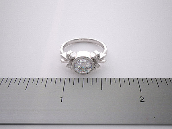 14K FEMININE RING SETTING BOW DESIGN BEZEL DESIGN