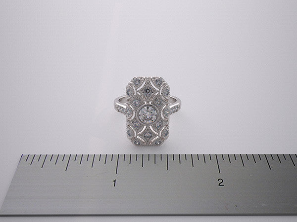 14K Vintage Art Deco Styling Diamond Ring Setting Lace Milgrain Details
