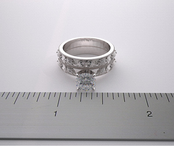 FLOWING FLOWER DESIGN ENGAGEMENT RING AND WEDDING BAND BRIDAL RING SET