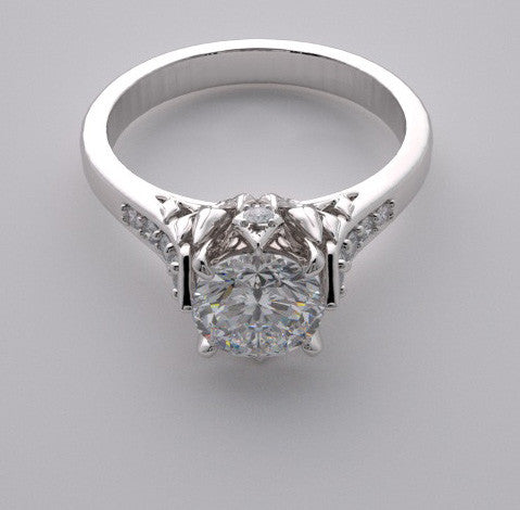 DESIGNER CROWN MOTIF ENGAGEMENT RING SETTING WITH ACCENT DIAMONDS