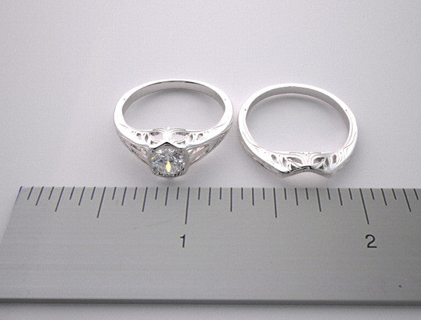 GOLD ANTIQUE STYLE  ENGAGEMENT MOUNTING AND WEDDING RING SET