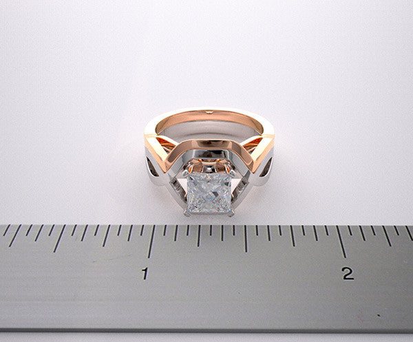 White and Pink Gold Architectural Design Two Tone Engagement Ring Setting Set