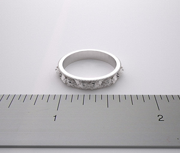 Platinum Floral Wedding Band
