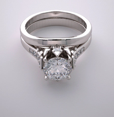 PAVE DIAMOND ACCENT BRIDAL ENGAGEMENT RING SETTING SET GOLD OR PLATINUM