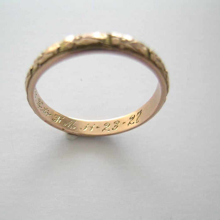 14K Gold Hand Carved Wedding Band Circa 1927 Size 9 3/4