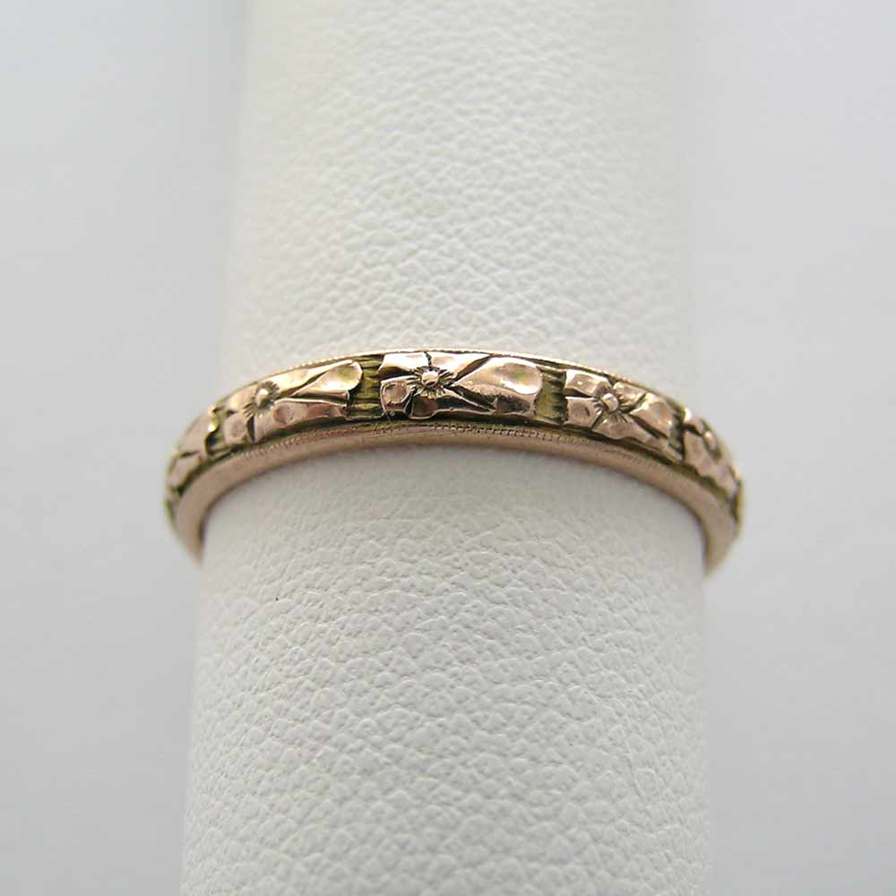 ANTIQUE 14K GOLD HAND CARVED WEDDING BAND CIRCA 1927