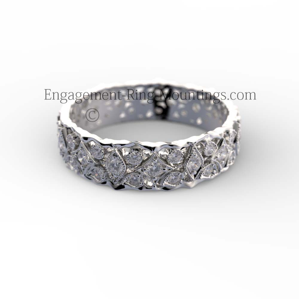 14K ORGANIC DIAMOND ETERNITY WEDDING RING BAND
