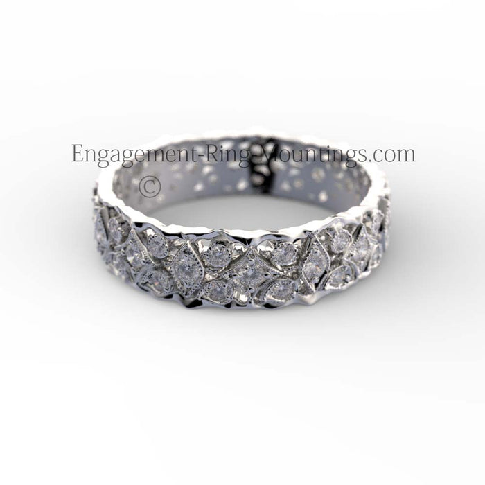 Gold Wide Diamond Eternity Wedding Band
