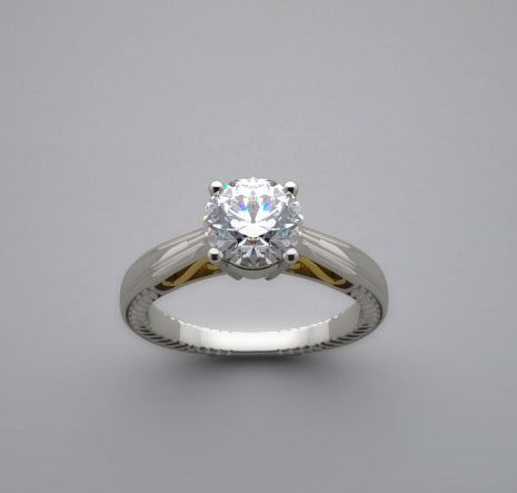Two Tone Engagement Ring Setting for a 1.00 Carat diamond
